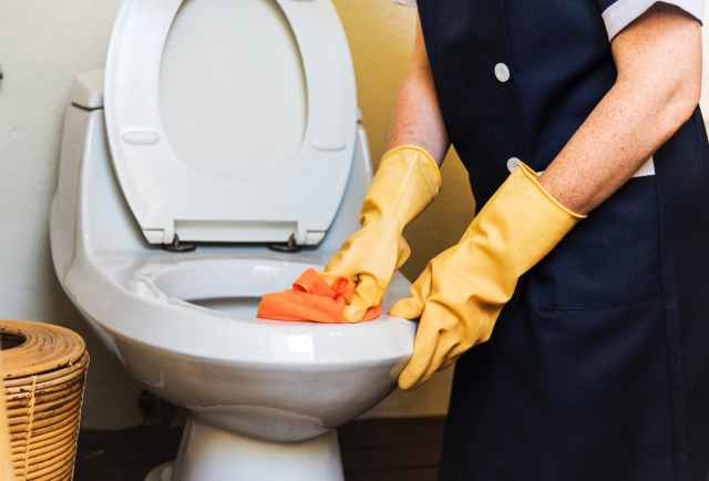 person cleaning flush toilet