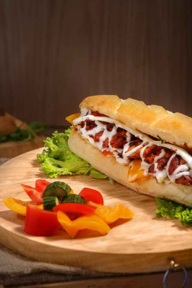 burger with sliced vegetables