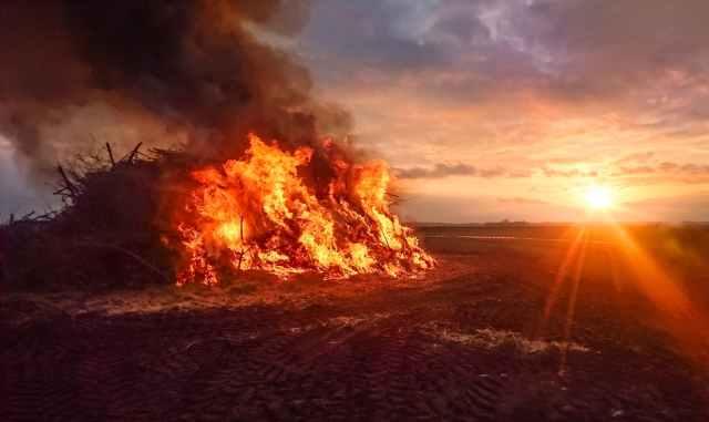 bonfire during sunset