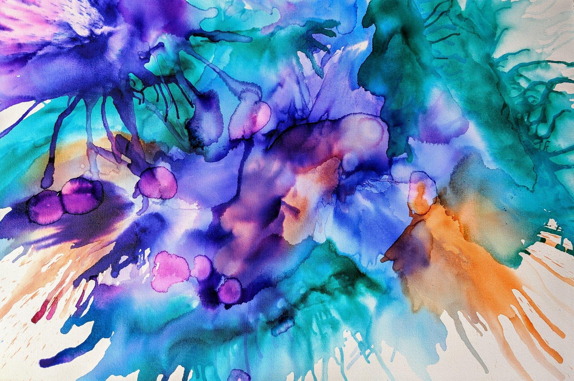 purple and teal splash painting