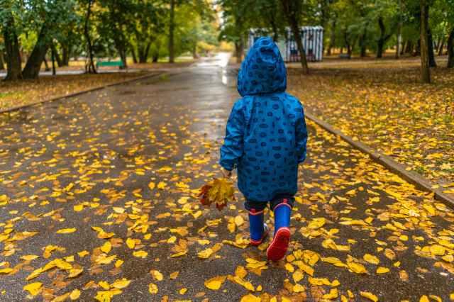 photo of kid wearing raincoat while walking on park