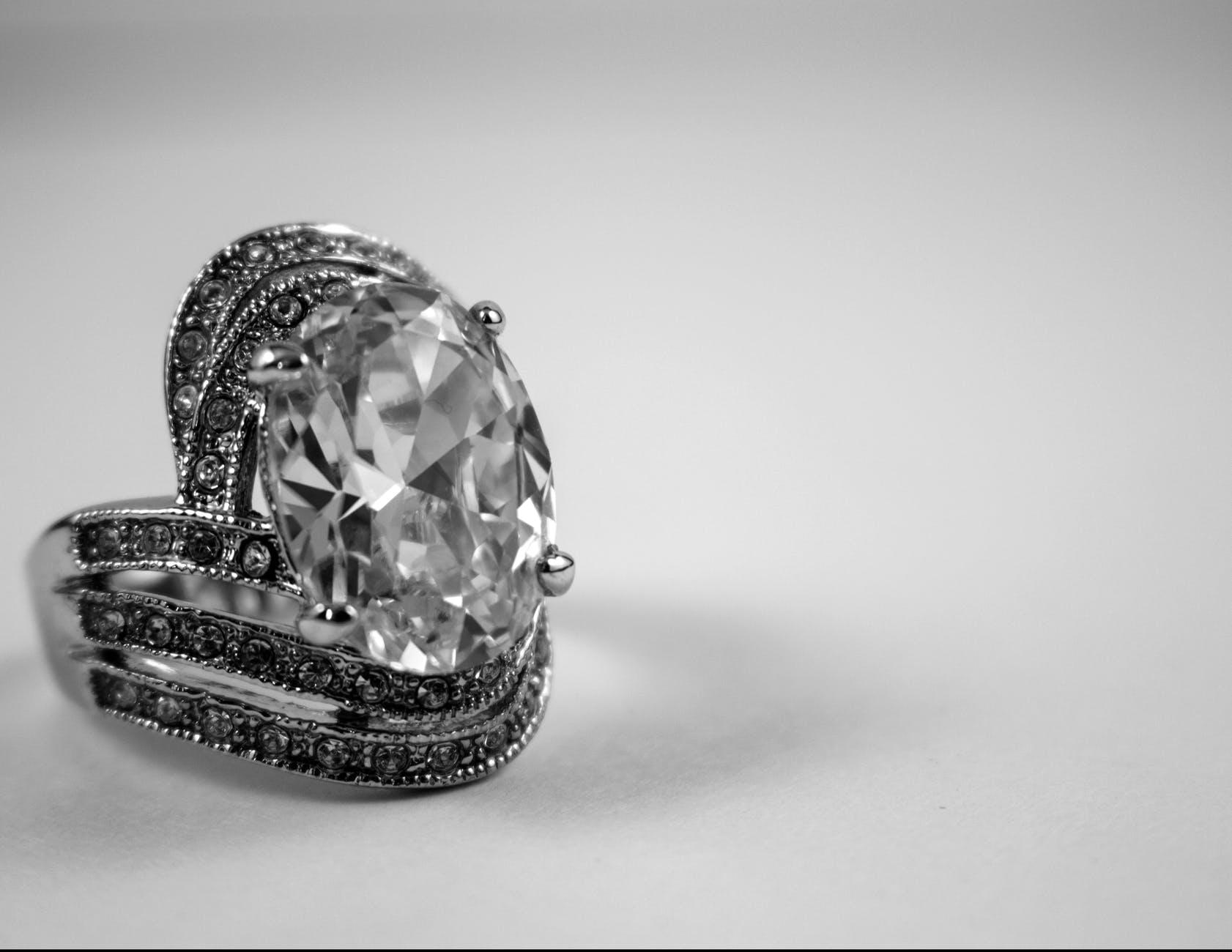 diamond silver colored ring