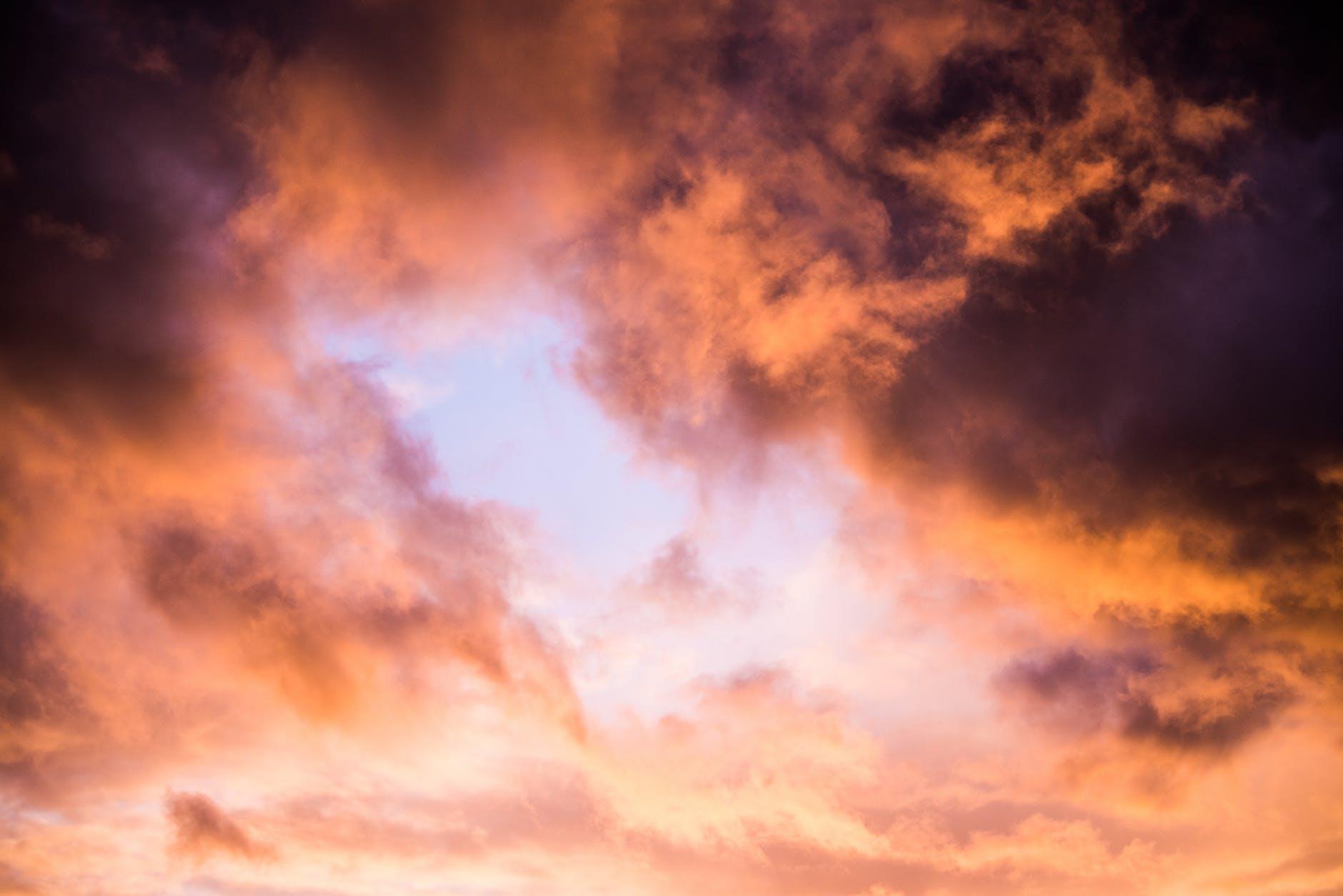 orange clouds during golden hour